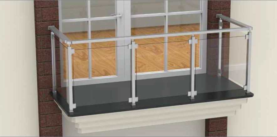 balustrada de aluminiu eloxat sticla patrat